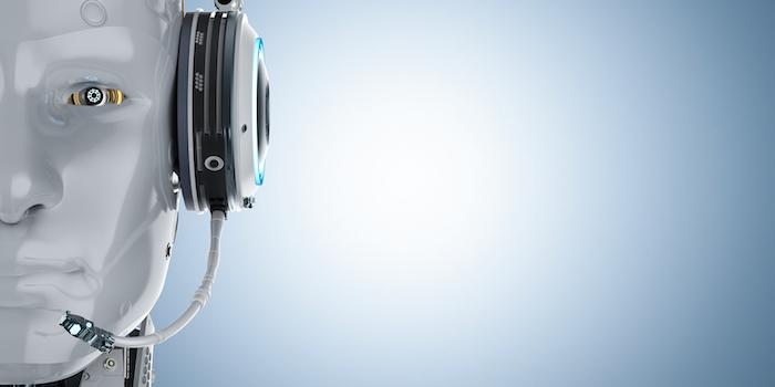 A robot wearing a comms headset