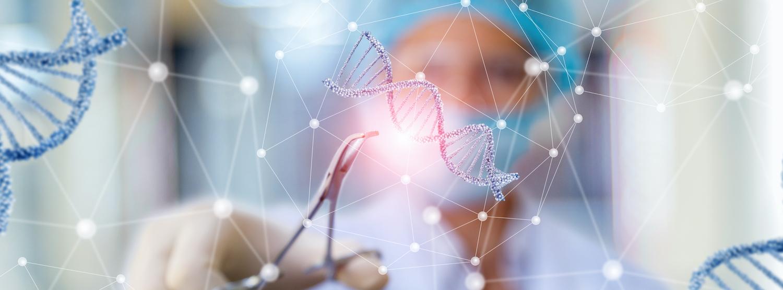 A scientist cutting DNA with scissors